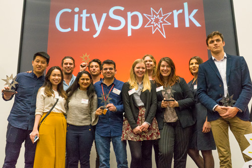 CitySpark winners on stage