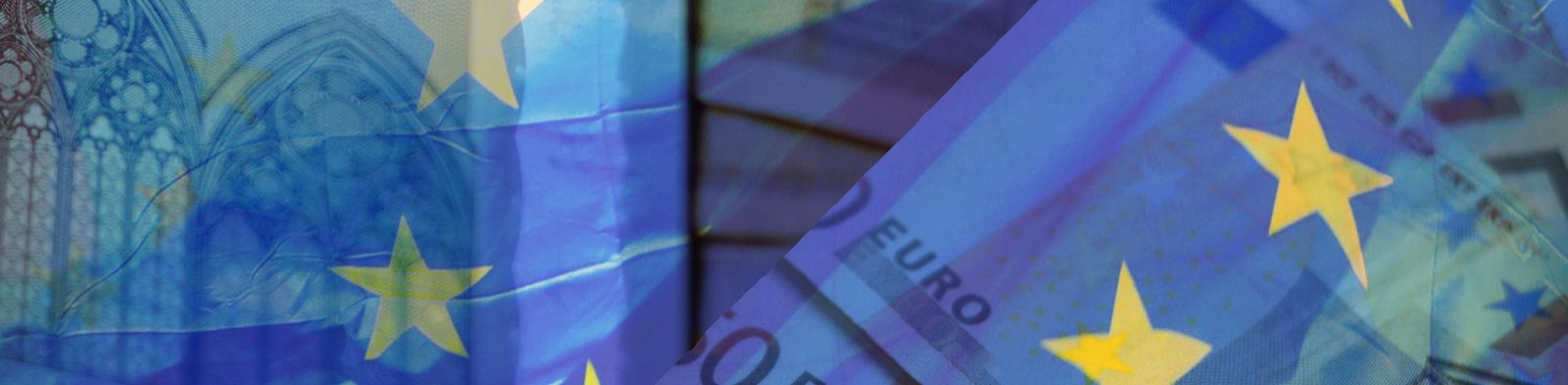 European flag and bank notes