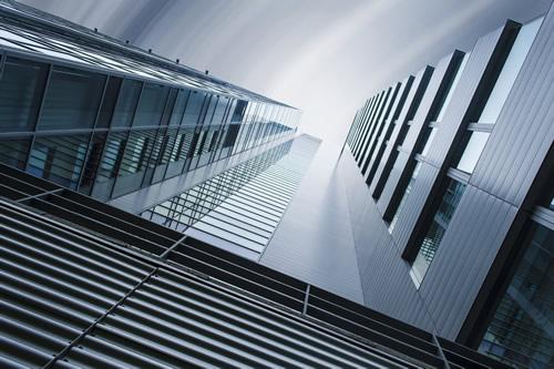 Upwards view of a skyscraper