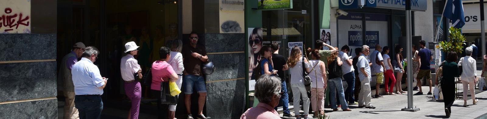 Queue at a Greek bank