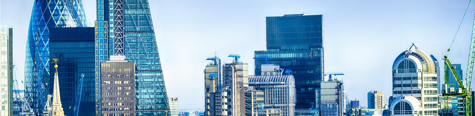 London skyline in bright sunlight