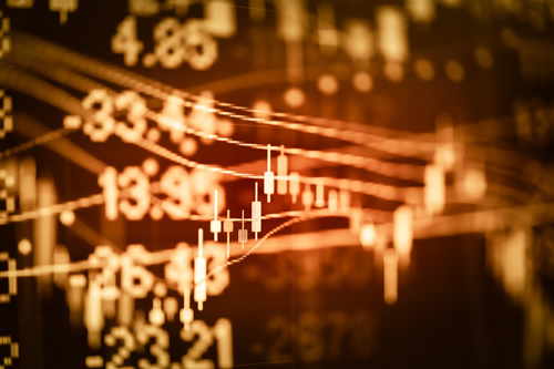 Illuminated stock market data graphic