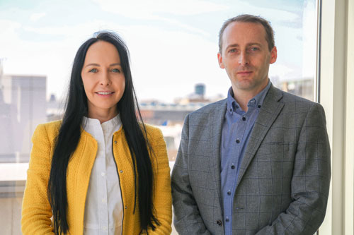 Augnet Founder Daniel Gill and the company's Chief Operating Officer, Jekaterina Orlova, take a break from work for a photograph in the City, University of London Launch Lab.