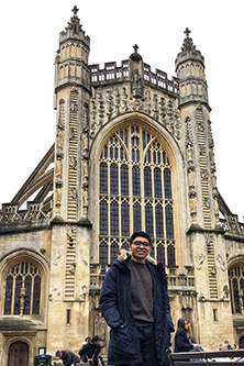 Muhammad Alhavif outside Bath Abbey