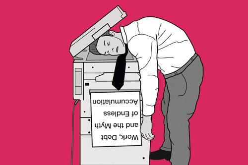 Man in despair with head on photocopier