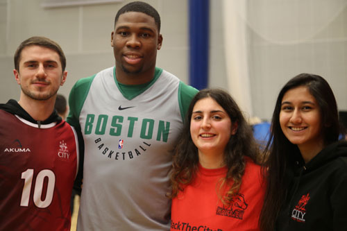 City, University of London students with a Celtics NBA player