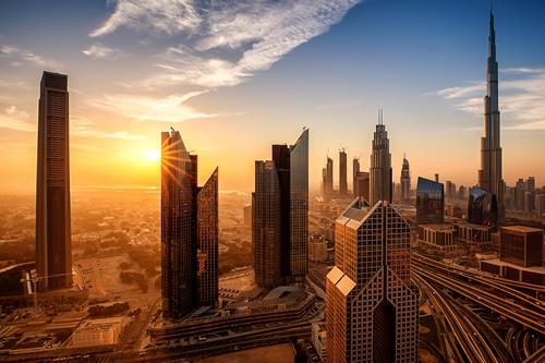 Dubai skyline bathed in sunlight