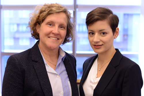 Dean Marianne Lewis and recipient Silvana Pesenti at the award ceremony.