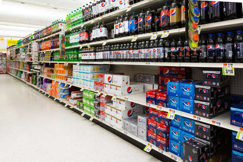 Rows of soft drinks