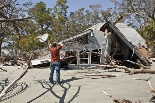 A house destroyed by a storm