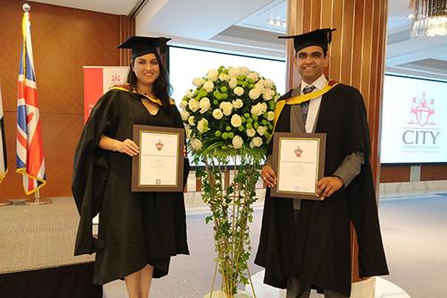 Anamika Gupta and Chijyoti Challamarad, husband and wife duo who graduated from the Dubai Executive MBA programme