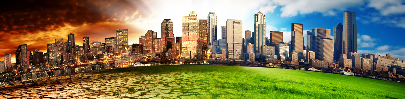 A blended image showing the effects of climate shange on a city skyline and bordering grasslands.