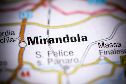 Map showing Mirandola