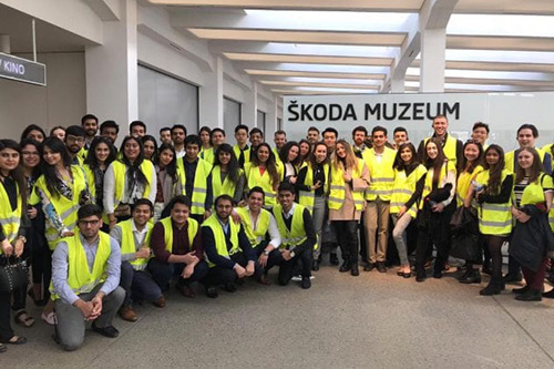 MSc management students on a visit to Skoda