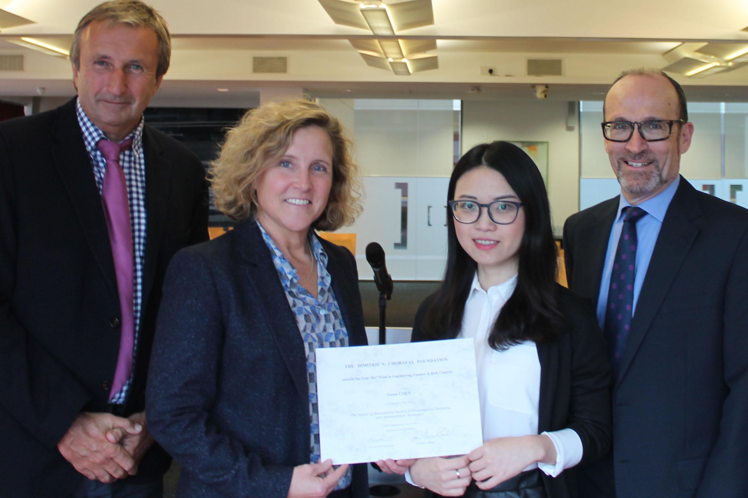 Winner of Dimitris N. Chorafas Foundation Award with her supervisors