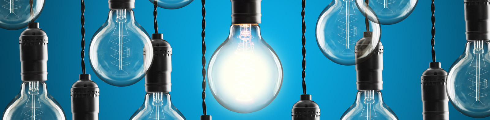 A group of hanging lightbulbs