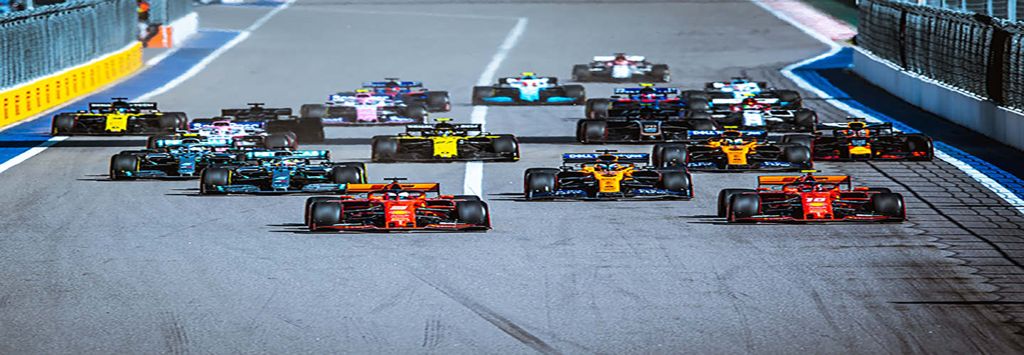 Formula 1 cars on the starting grid