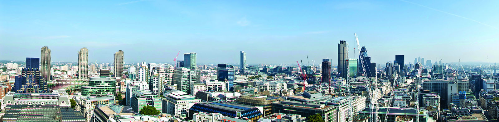 London skyline with blue sky.
