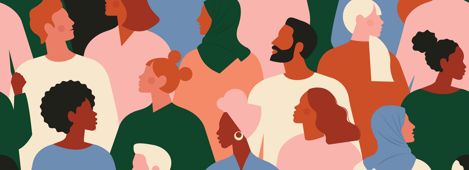 Diverse crowd of people illustration