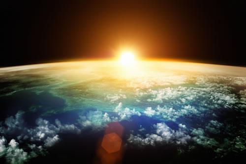 Sunrise over the globe