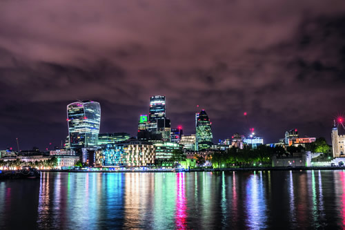 City of London illuminated at night