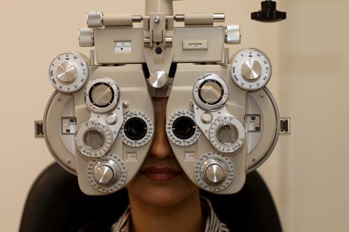 Optometry equipment in use