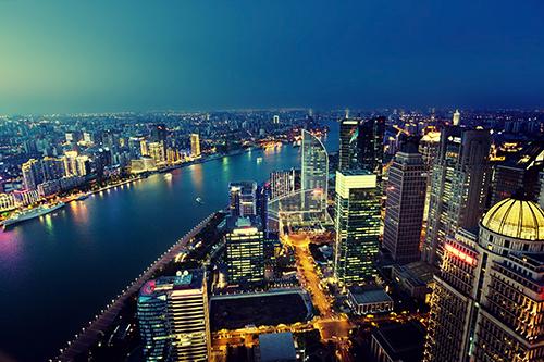 Skyline of Shanghai at night