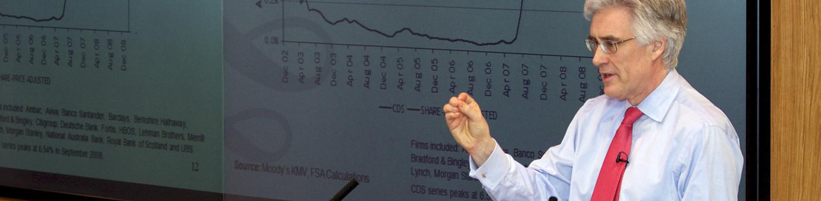 Adair Turner speaking at the Business School.