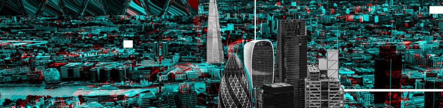 Distorted London skyline