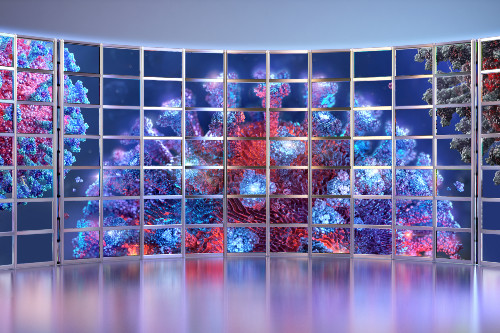 The SARS-CoV-2 virus on a bank of media screens