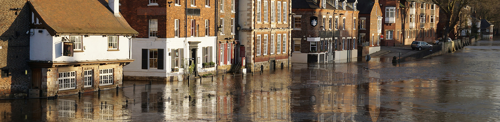 A flooded town centre