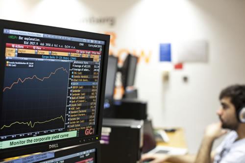 Financial graph on a screen