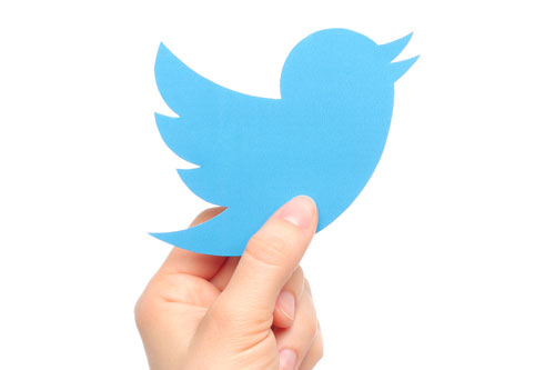 Hand holds the blue bird Twitter logo