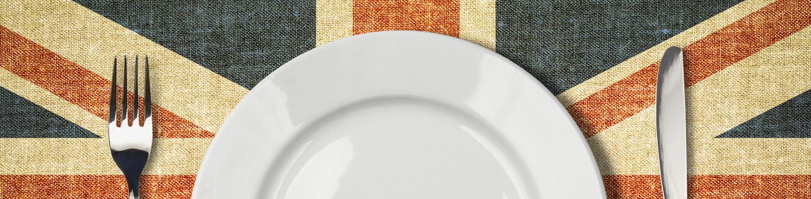 Plate, knife and fork on a Union Jack background