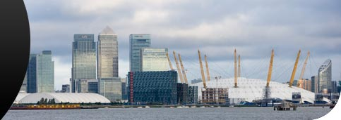 View of Canary Wharf and the O2, London